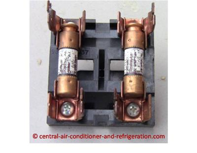 Central air conditioner fuse on